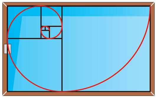 Spirale du nombre d'or dans un rectangle parfait