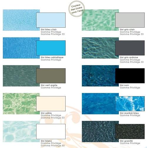 Choix des couleurs d'eau et de liner pour une piscine